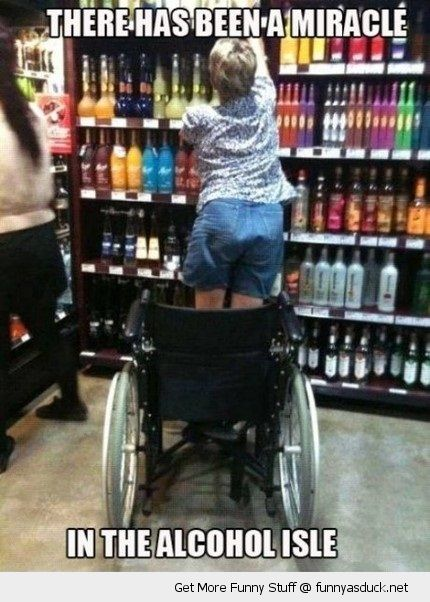 funny-woman-standing-wheelchair-miracle-alcohol-isle-pics