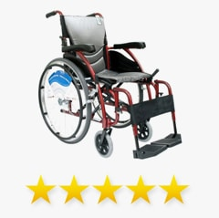 manual wheelchair with five-star rating underneath