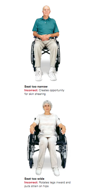 Wheelchair Seat is too narrow, or too wide.