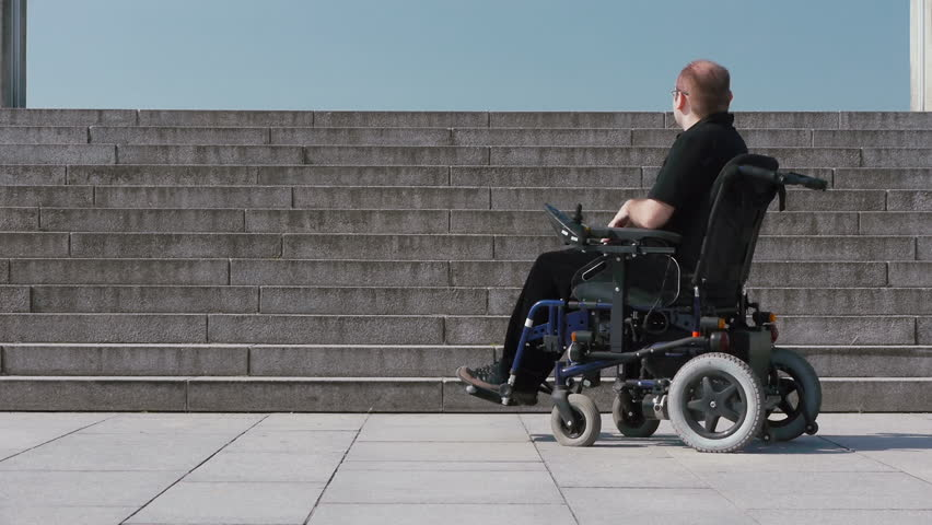Wheelchair user looking at a view