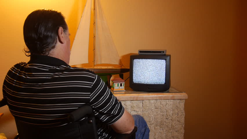 Watching tv in a wheelchair
