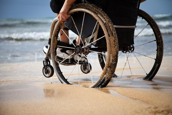 wheelchair in ocean