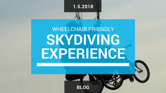 Skydiving wheelchair user